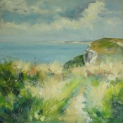 Cliff path above Blackgang print  Isle of Wight oil painting