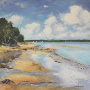 Bembridge beach  Isle of Wight oil painting